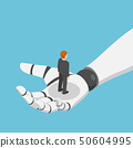 Isometric businessman standing in ai robot hand 50604995