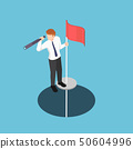 Isometric businessman standing on pole with 50604996