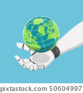 Isometric robot hand holding the world or planet 50604997