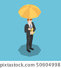 Isometric businessman with umbrella and document 50604998