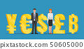 Businessman and businesswoman standing with golden 50605000