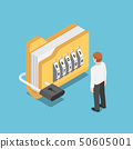 Isometric businessman standing with folder with 50605001