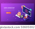 Isometric web banner online video content 50605002