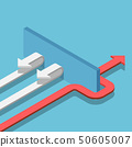 Isometric red arrow find the way to pass the wall 50605007