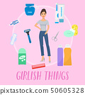Girlish things banner vector illustration. Hygiene personal care toiletries set of hygienic bath 50605328