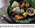 Rice ball, side dish platter 50606262