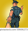follow me police officer arrested woman. love and marriage concept 50606273