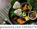 Rice ball, side dish platter 50606279