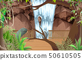 landscape of wooden walkway at waterfall 50610505