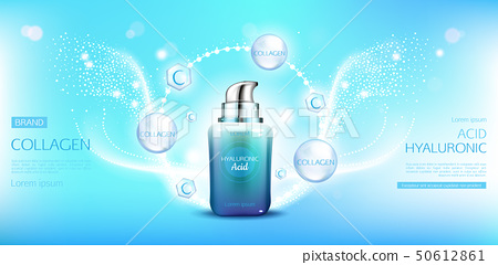 Hyaluronic acid collagen cosmetics bottle mock up. 50612861