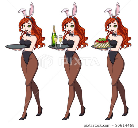 Cartoon sexy pin up bunny girl with champagne and cake. 50614469