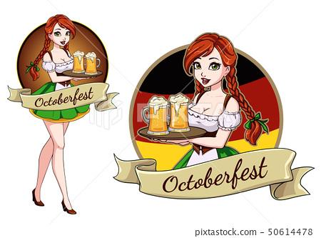 Pretty Cartoon Girl With Beer Oktoberfest Logo Stock Illustration 50614478 Pixta