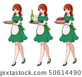 Set of red haired waitresses holding champagne and cake, wearing green dotted maid costume. 50614490