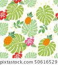 無縫的菠蘿和龜背竹圖案和芙蓉圖連續模式 面料/紡織 50616529