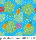 无缝的菠萝和龟背竹图案和芙蓉图连续模式|面料/纺织 50616530