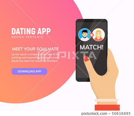 Dating app online mobile concept. Female male profile flat design. Couple dating match for 50616895