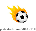 Soccer ball in fire flame. Football fireball cartoon icon. Fast ball logo in motion isolated 50617118