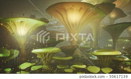 Fantasy mushrooms in a magic forest. Beautiful magic mushrooms in the lost forest and fireflies on 50617139