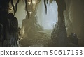 Ancient huge fantasy cave filled with ancient mushrooms and magical fog with dust. 3D Rendering 50617153