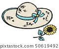 밀짚 모자와 미니 해바라기 50619492
