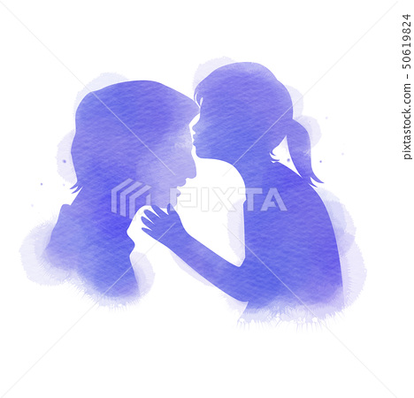Daughter kissing her father silhouette plus 50619824