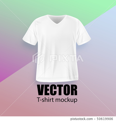 Front view of white men's t-shirt realistic 50619986