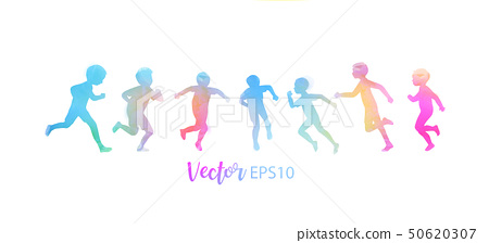 Watercolor of happy kids playing together . Happy 50620307