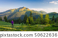 Summer landscape with a tourist in the mountains 50622636