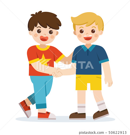 Happy boys standing and shaking hands. 50622913