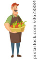 Vector farmer character with vegetables and fruits.  50628884
