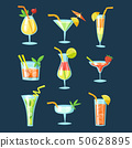 Vector set of drinks and cocktails icons.  50628895