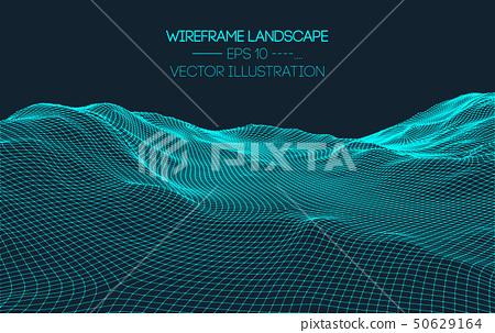 Retro background futuristic landscape 1980s style. Digital retro landscape cyber surface. 80s party 50629164