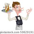 Cartoon Perfect Kebab Waiter Butler 50629191