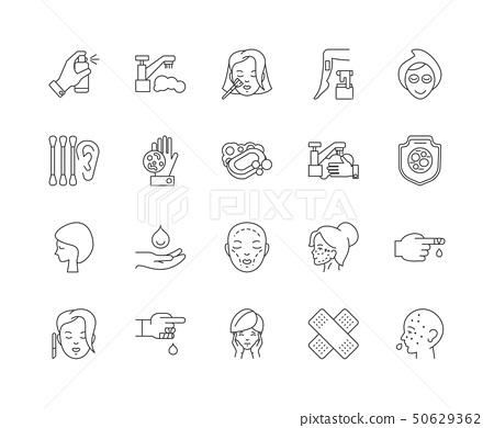 Dermatology line icons, signs, vector set, outline illustration concept  50629362