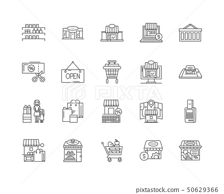 Department store line icons, signs, vector set, outline illustration concept  50629366