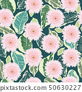 pattern of decortive gerbera flowers and tropical 50630227
