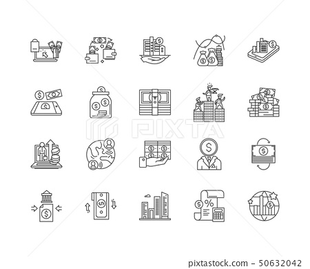 Capital markets line icons, signs, vector set, outline illustration concept  50632042