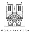 Notre Dame de Paris Cathedral. Line Art Style. Vector 50632826