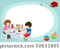 Creative kids frame banner vector illustration. Girl and boy drawing, painting, cutting paper 50633805