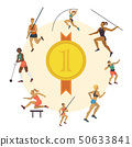 Athletics banner vector illustration. Exercising man, woman in different poses. Woman figures 50633841