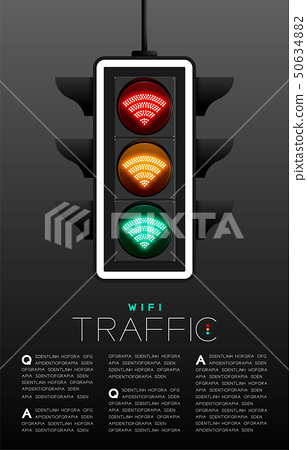 LED Traffic Light with Wifi symbol, Wireless 50634882