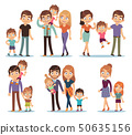 Family characters. Happy traditional families people relationship mother father kids grandma grandpa 50635156