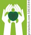Hands Protect Marine Turtles Illustration 50635644
