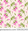 Pattern with pink fuchsia flowers. 50636240