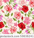 Tropical pattern with red and pink flowers. 50636241