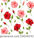 Pattern with pink and red hibiscus flowers 50636242