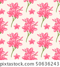 Tropical seamless pattern with pink flowers 50636243