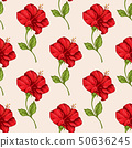 Tropical seamless pattern with red flowers 50636245