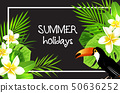 Summer tropical background with flowers 50636252
