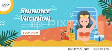 Summer vacation banner layout 50636420